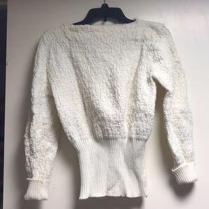 Sweaters - Handmade Knit/Crotchet White Sweater